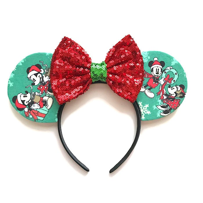 mickey and minnie holiday christmas flannel fabric ears