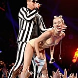 "It's the performance that had the whole world talking — Miley Cyrus twerked against Robin Thicke's groin during their performance of ""Blurred Lines"" at the MTV VMAs in 2013."