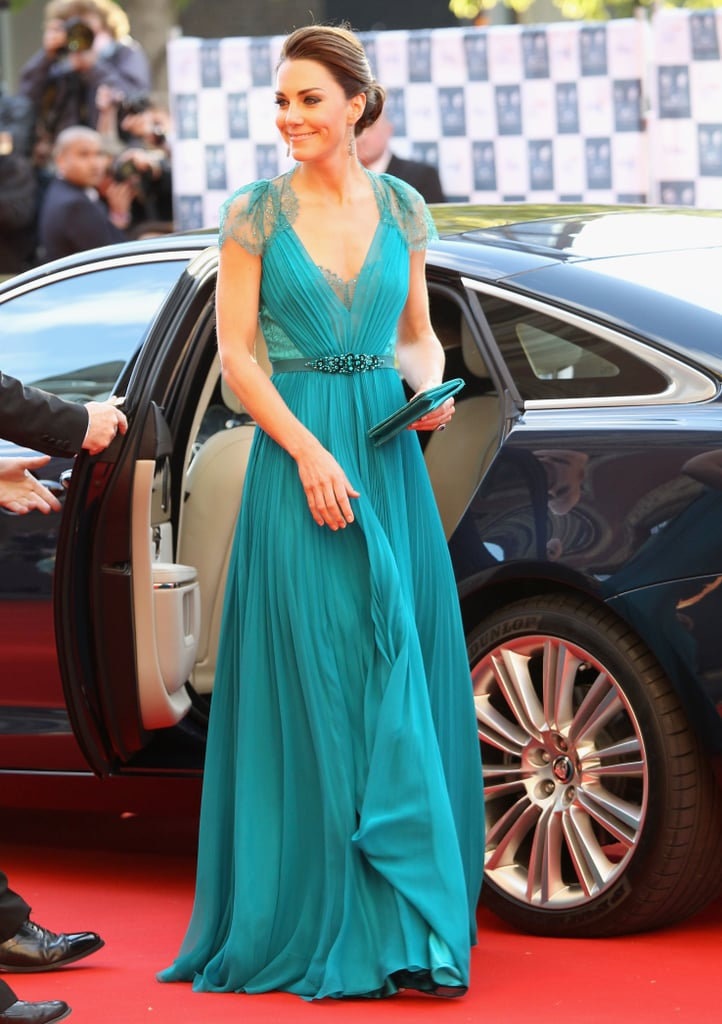 Wearing Jenny Packham for an Olympic concert at the Royal Albert Hall in May 2012.