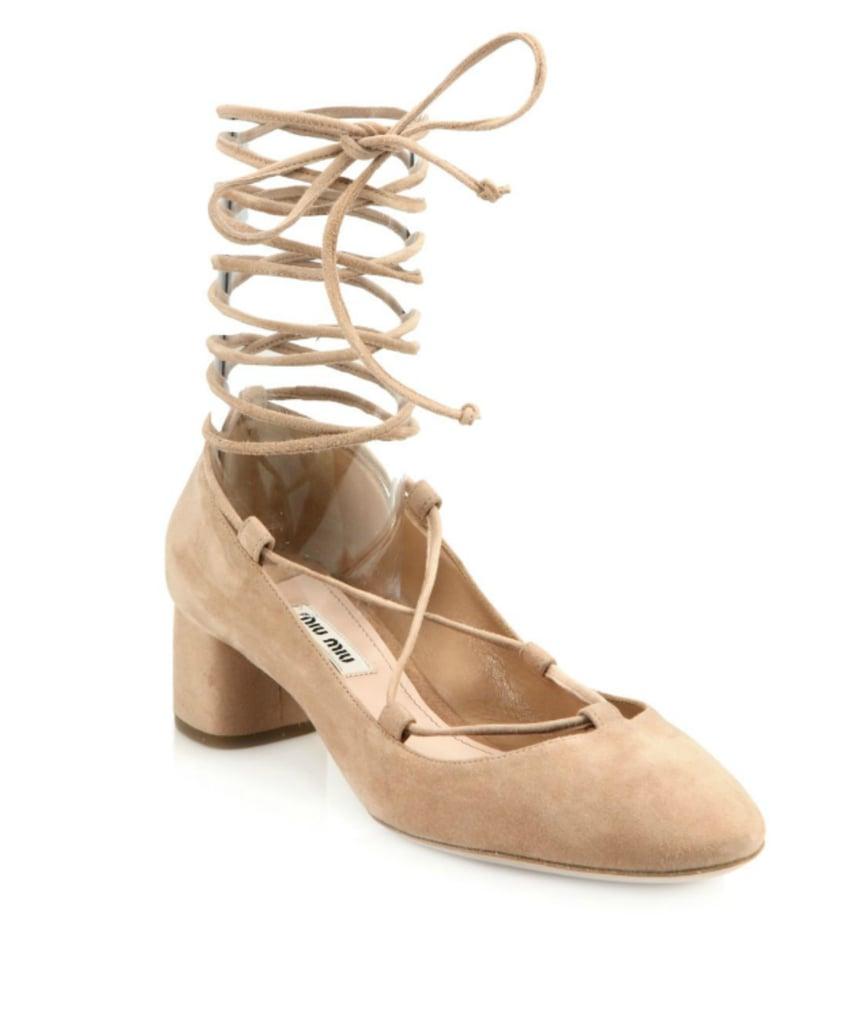 6772e0655d758 Miu Miu Suede Lace-Up Block-Heel Pumps ($695) | Block Heel Trend ...