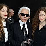 Sama and Haya Khadra with Karl Lagerfeld