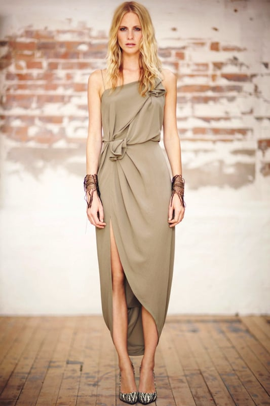 An elegant silk knot dress (modeled by Poppy Delevingne) is ideal for an evening gala.  Willow Asymettric Knot Dress ($376, originally $939)