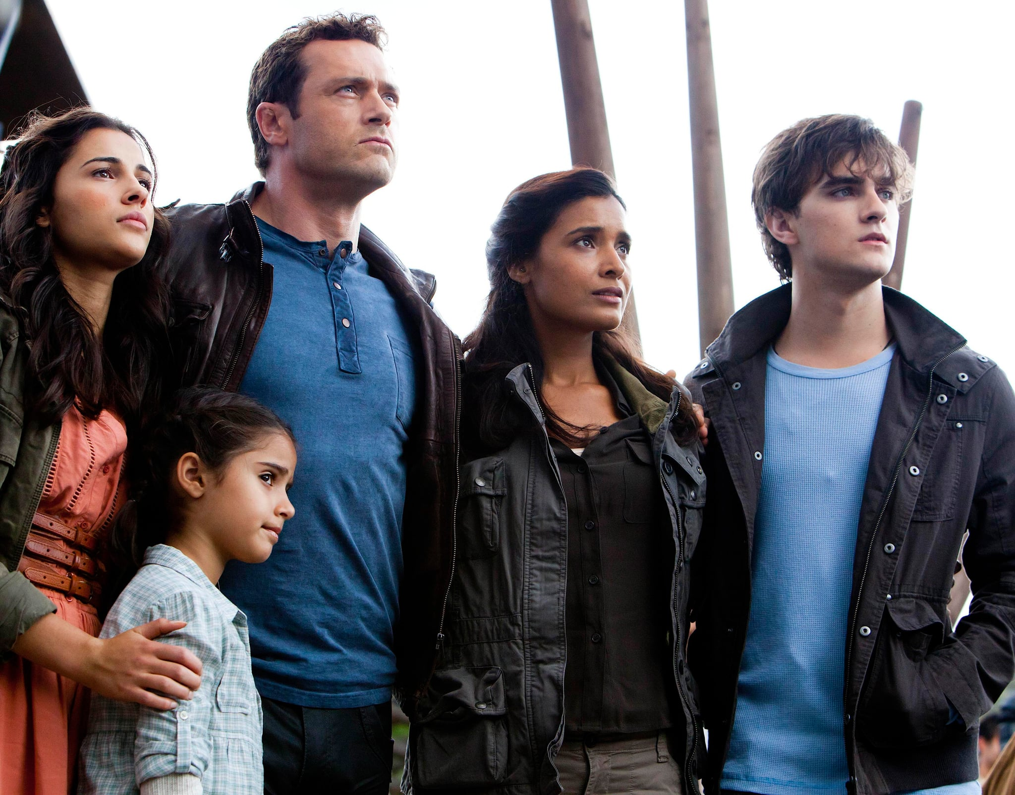 TERRA NOVA, (from left): Naomi Scott, Alana Mansour, Jason O'Mara, Shelley Conn, Landon Liboiron, 'Within', (Season 1, ep. 111, aired Dec. 12, 2011), 2011-. photo: Vince Valitutti / TM and Copyright  20th Century Fox Film Corp. All rights reserved, Courtesy: Everett Collection
