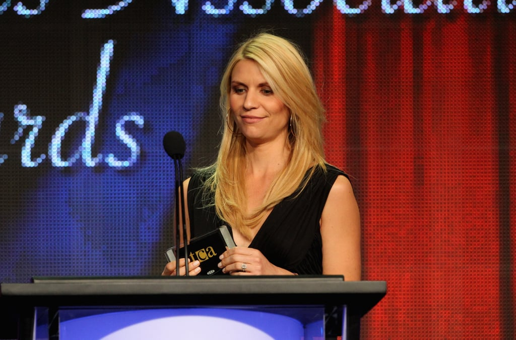 Claire Danes spoke on stage at the Television Critics Association Awards in LA.