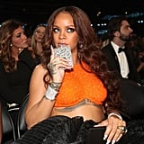 Rihanna sipped from a flask during the 2017 show.