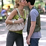 Blake Lively and Penn Badgley shared a kiss on set in July 2008.