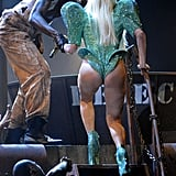 "Lady Gaga showed ""some bare flesh under curves of the buttocks and buttock crack"" in 2010."