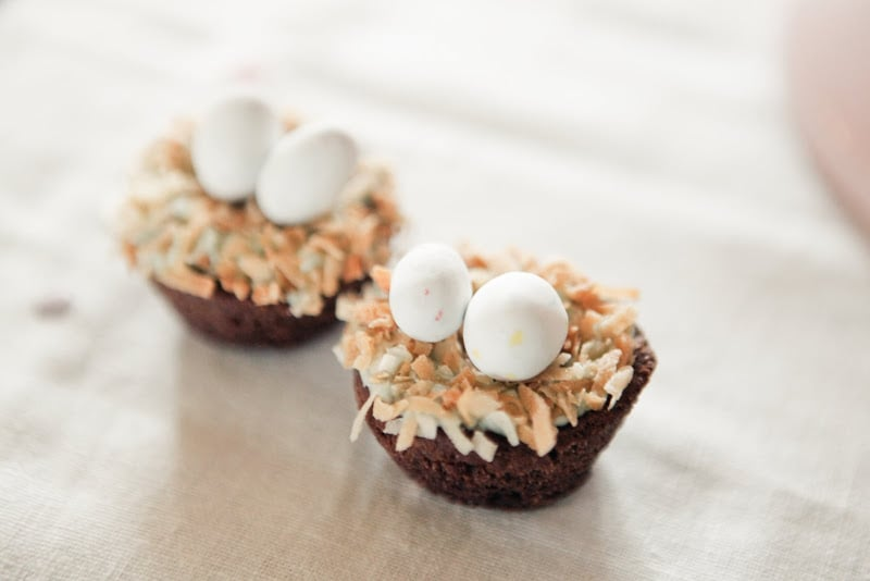 """For a cute, clever touch, Jenny nested candy """"eggs"""" on top of cupcakes. Source: Kaylee Eylander Photography via Jenny Cookies"""