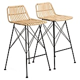 Set of Two Indoor Outdoor Natural Barstools