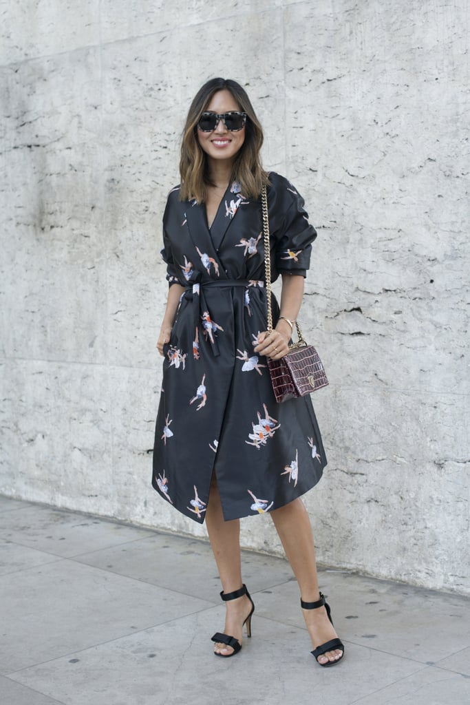 A chic wrap dress with simple sandals