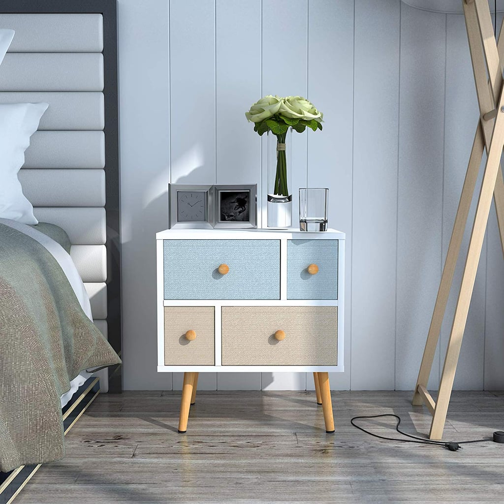 Nightstand With Four Fabric Drawers