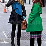 Blake Lively and Leighton Meester filming Gossip Girl in NYC.