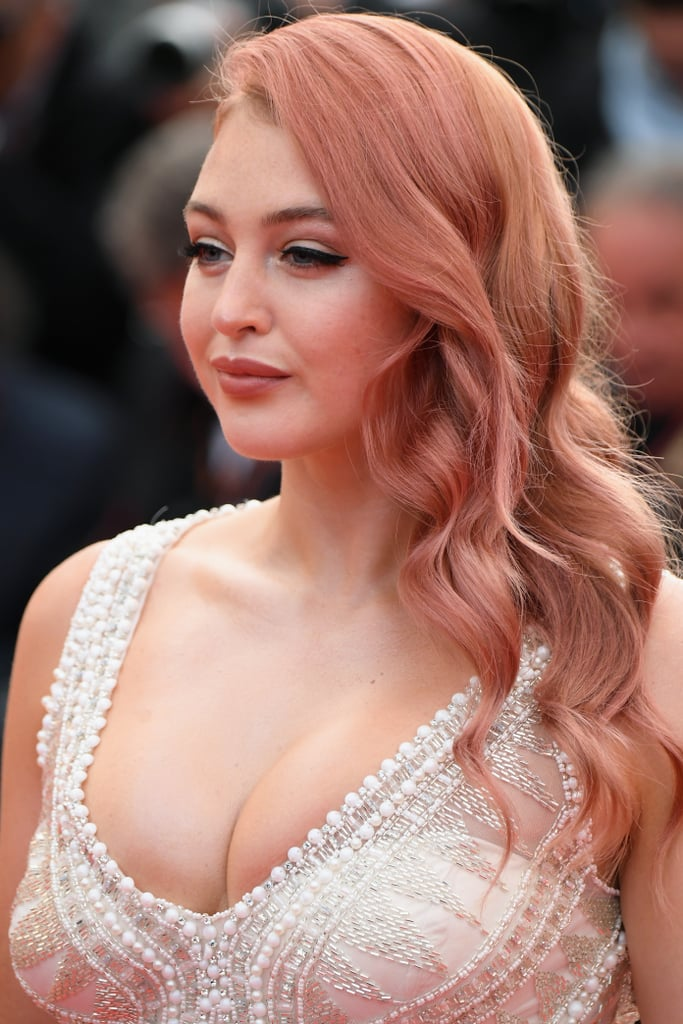 Iskra Lawrence White Beaded Dress at Cannes 2018