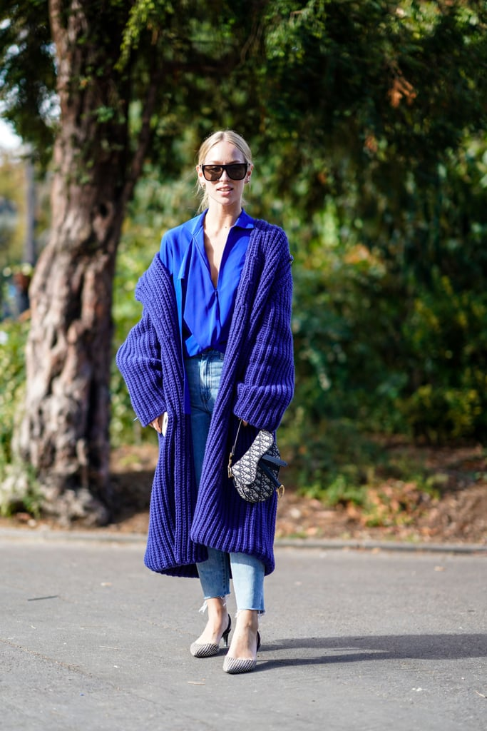 Embrace the blue jean theme with a robe coat in the same brilliant color