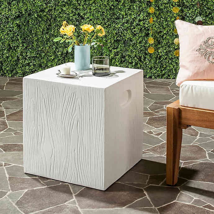Bed Bath & Beyond Safavieh Cube Concrete Accent Table