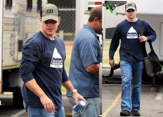"""Photos of Matt Damon Heading to Work on """"The Informant"""""""