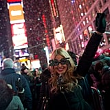 This party-goer cheered as it officially became 2015 in the city that never sleeps.