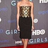 The season-two NYC premiere of Girls brought out the bold and playful side of Allison, as she swapped her signature romantic style for this show-stopping Altuzarra confection, complete with a gold-embellished bodice and black patchwork skirt.