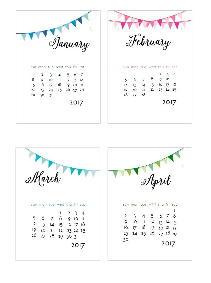Banner Year | 2017 Free Printable Calendars | POPSUGAR ...