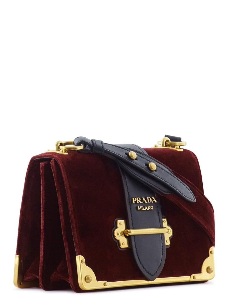 5cc53ec2278a Prada Cahier Velvet   Leather Shoulder Bag