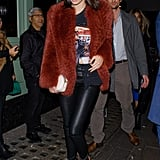 A Go-To Uniform For Kendall Was Leather Trousers, a Band Tee, and a Furry Coat