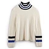 Striped Mockneck Sweater in Pristine ($37, originally $50)