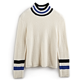 Striped Mockneck Sweater in Pristine