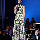 Thanks to a bright floral print, Claire Danes positively commanded the stage in her embroidered Valentino gown from the Spring 2014 collection.