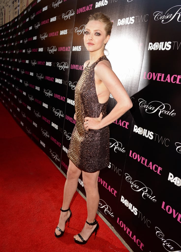 Amanda Seyfried wore a sequinned Gucci dress to her Lovelace premiere in LA.