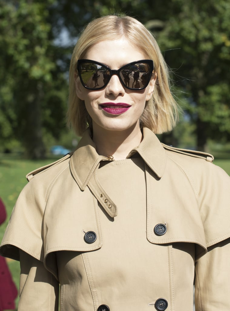 When you're wearing a deep bordeaux lipstick, all you need are awesome shades and a simple hairstyle.