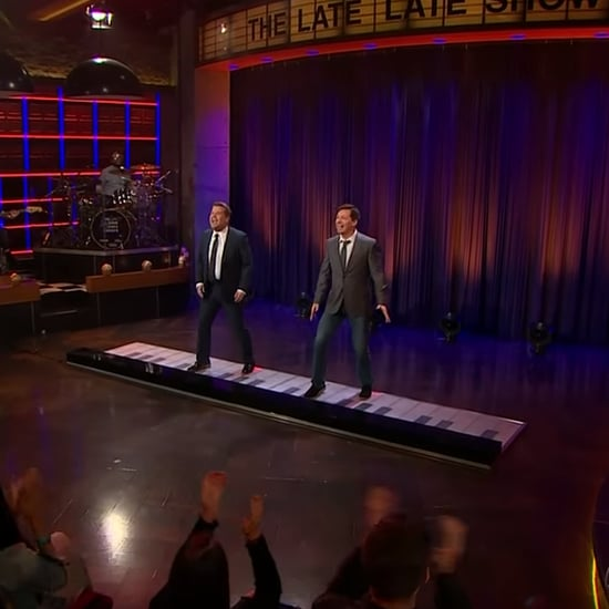 "James Corden and Sean Hayes Playing ""Sorry"" on Giant Piano"