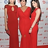 Kris Jenner posed with her daughters Kylie Jenner and Kendall Jenner before they all walked down the runway for The Heart Truth's Red Dress Collection fashion show in NYC in February.