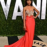 At the 2013 Oscars, Kerry Washington was one of the best dressed in her embellished Miu Miu gown, which had a fabulous coral skirt with a dainty bow at the waist.