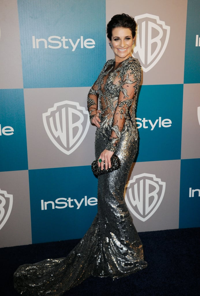 Lea Michele in silver Marchesa at InStyle's Golden Globes afterparty.