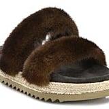 These Brunello Cucinelli Mink Fur Espadrille Slides ($1,645) feature two furry straps.