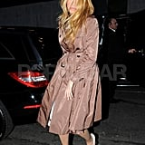 Blake Lively had a tan coat on.