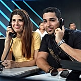 Wilmer Valderrama alongside Marisa Tomei participated in the phone bank on stage.