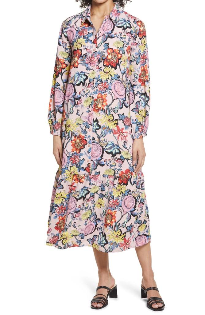 Halogen Floral Long Sleeve Popover Shirtdress