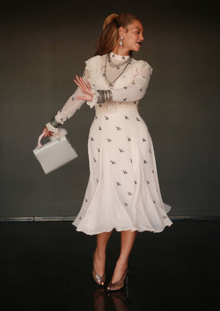 Beyoncé loves giving her fans what they love: tons of outfit inspiration. The singer posted a bunch of adorable images of herself dancing around in a Victorian-inspired dress. Her white dress from Temperley London featured long sleeves, ruffle accents, and a beautiful bird print. While her dress will set you back $1,195, Beyoncé looked like she was having the time of her life in the outfit.  Bey being Bey, she provided us with gorgeous detail shots of her entire outfit. She styled the Temperley number with a $5,150 light gray bag from Delvaux (it came with a pink fuzzy ball) and PVC Tom Ford heels. She accessorized with earrings, bracelets, and necklaces from famed celebrity jeweler Lorraine Schwartz. (Blake Lively also recently rocked the brand, wearing the designer's new Eye Bangles.) Read on for a look at Beyoncé's beautiful dress, then buy the exact piece, as well as more affordable options, ahead.       Related:                                                                                                           Ring the Alarm: These Are Beyoncé's Sexiest Outfits Through the Years