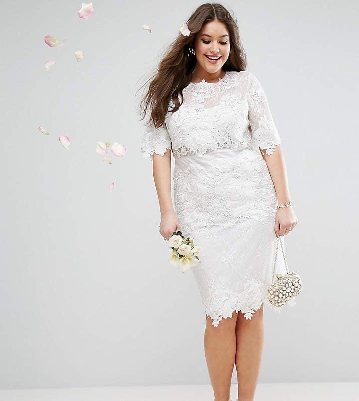 ASOS Bridal Lace Embroidered Midi Shift Dress