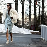 Go for old Hollywood glamour by simply throwing some faux-fur into the mix.