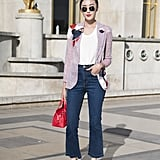 Upgrade your cropped jeans with strappy heels and a blazer.