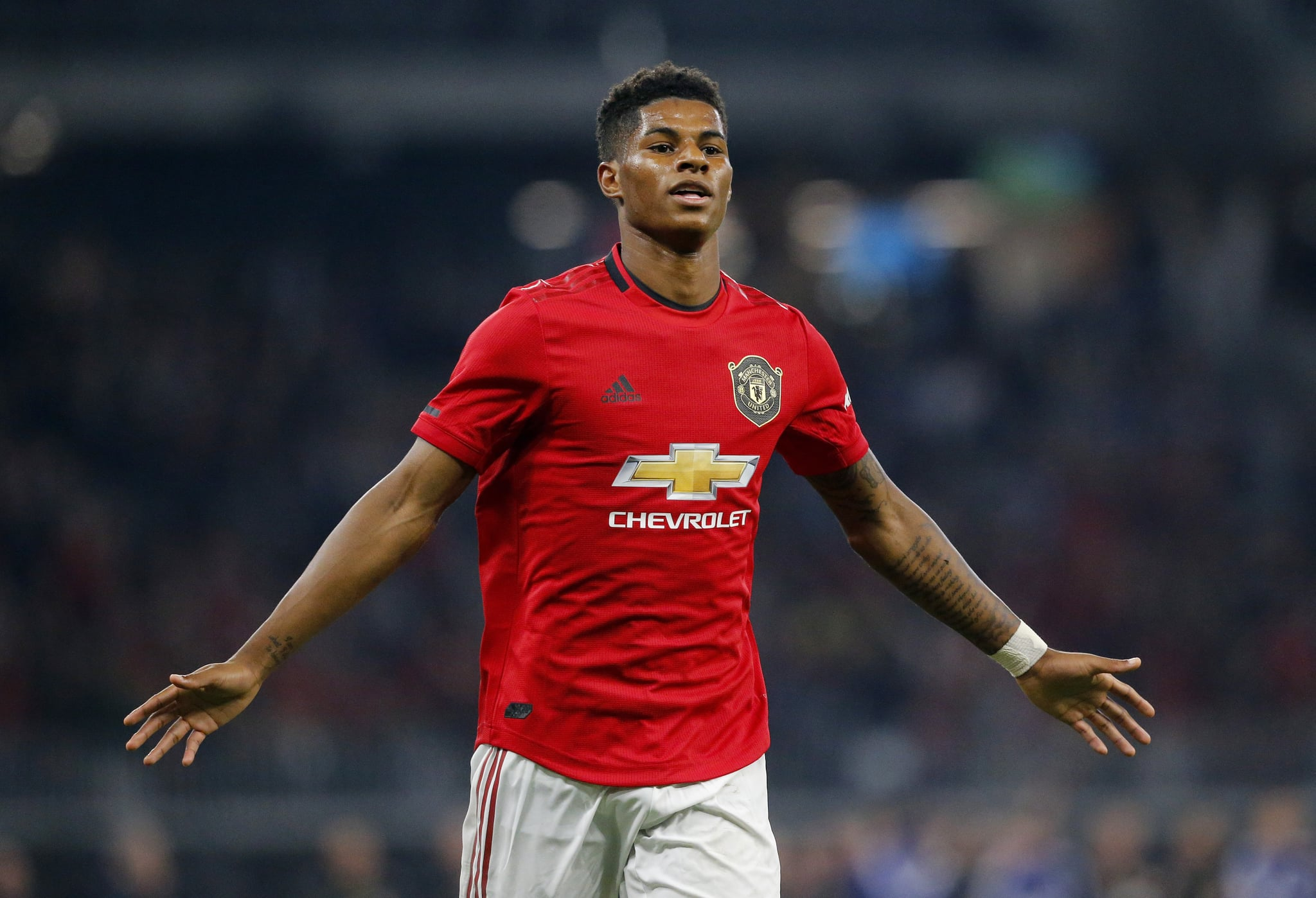 PERTH, AUSTRALIA - JULY 17: Marcus Rashford of Manchester United celebrates his goal during the match between Manchester United and Leeds United at Optus Stadium on July 17, 2019 in Perth, Australia. (Photo by James Worsfold/Getty Images)