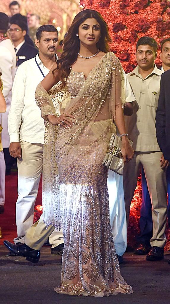 Bollywood Actress Shilpa Shetty Wore An Embellished Sari Isha