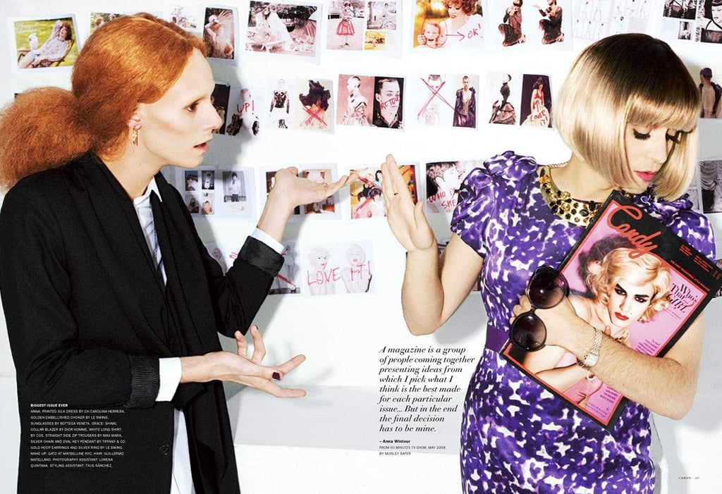 """>> Luis Venegas, editor and publisher of the""""transversal style magazine"""" Candy, takes on the drag version of Anna Wintour to model and DJAndrès Borque's Grace Coddington in the magazine's The Devil Wears Anna editorial. Franca Sozzani and Tavi Gevinson get play, too. [Frockwriter]"""