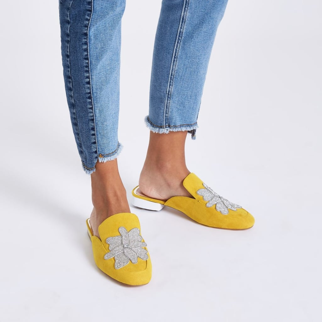 River Island Yellow Embellished Loafers