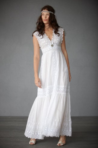 For the more bohemian bride, this style is spot-on and carefree with pretty eyelet detailing.  BHLDN Lacy Lanes Gown ($600)