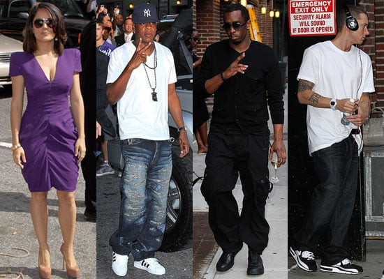 Pictures of Salma Hayek, Jay-Z, Diddy, and Eminem on The Late Show With David Letterman