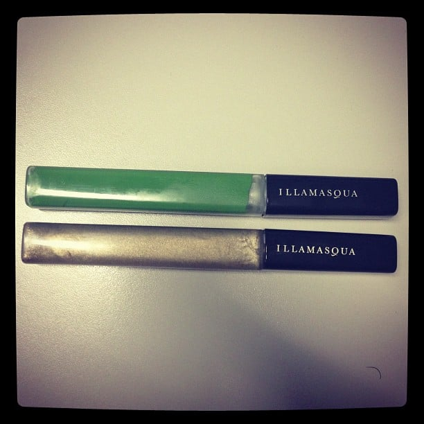 Green and gold lipgloss from Illamasqua. Looks scary off, looks amazing on. Alison's tip: mix the green with a blue-based red lippie and you'll come out with a gorgeously glossy plum lip colour. Magic.