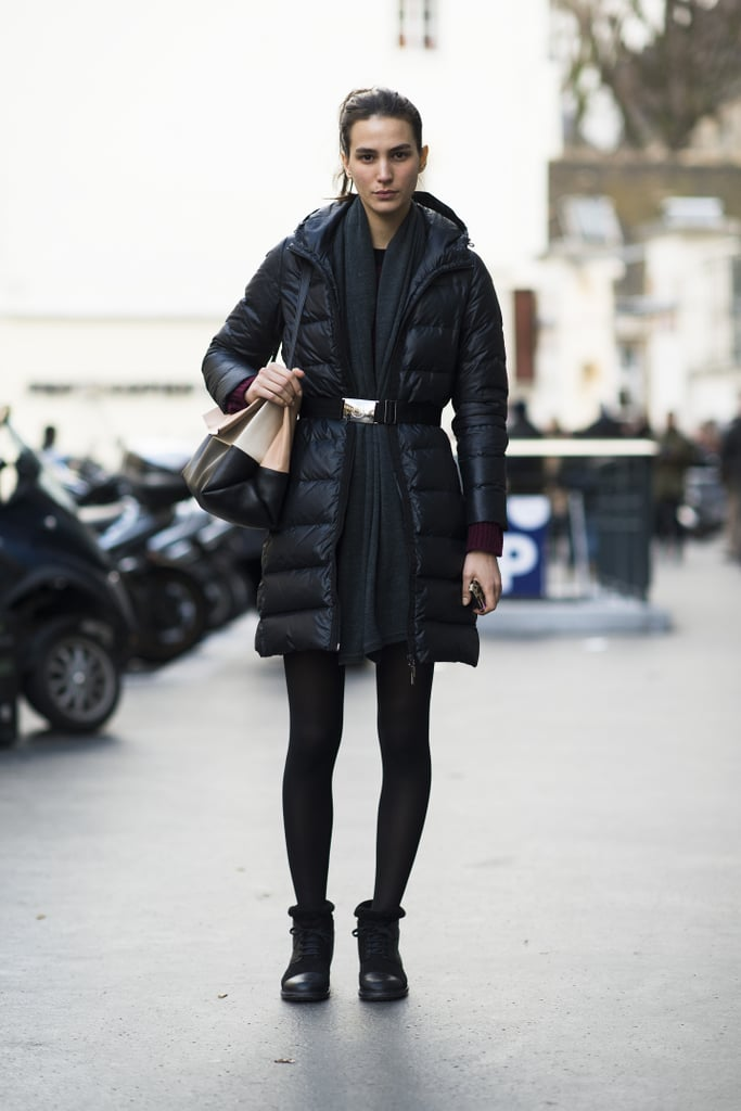 Reinvent the puffer coat just by refusing the use the zipper – and adding a belt at the waist instead. Source: Le 21ème | Adam Katz Sinding
